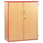 Lockable Cupboard with 3 Shelves & Red Edging (1250H)