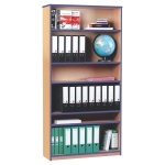 Open Bookcase with 5 Shelves & Blue Edging (1800H)