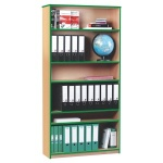 Open Bookcase with 5 Shelves & Green Edging (1800H)