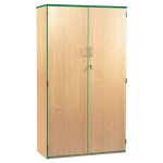 Lockable Cupboard with 5 Shelves & Green Edging (1800H)