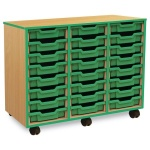 24 Shallow Green Tray Store with Green Edging