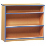 Open Bookcase with 2 Shelves & Blue Edging (750H)