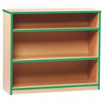 Open Bookcase with 2 Shelves & Green Edging (750H)