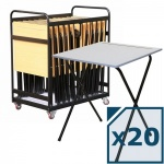 20 Folding Exam Desks + Trolley