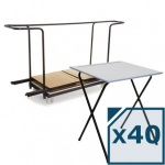 40 Folding Exam Desks + Trolley