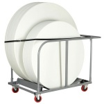 Round Poly-Folding Table Trolley
