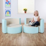 Multi-Seat Classic Island with M-Link™ - Aqua Blue & Wheat Cream
