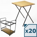 20 Titan MDF Folding Exam Desk + Trolley Package