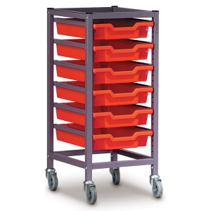 Low 1 Bay Science Storage Trolley - 5 Shallow Trays