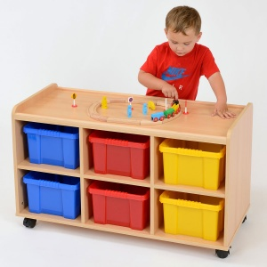 6 Deep Coloured Tray Static / Mobile Classroom Storage