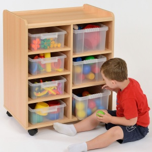 4 Shallow / 3 Deep Clear Tray Classroom Storage