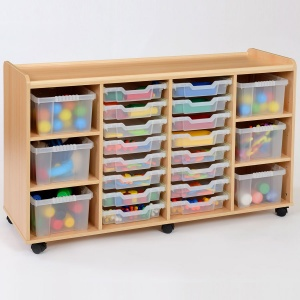 16 Shallow / 6 Deep Clear Tray Classroom Storage