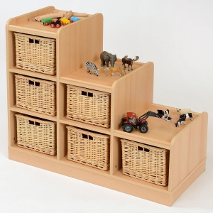 6 Deep Wicker Basket Tiered Classroom Storage - Right Hand