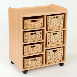 4 Shallow / 3 Deep Wicker Basket Flexi Storage Unit