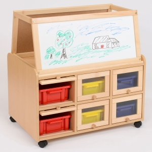 Double Sided Nursery Resource Unit + Doors, Easel & Trays