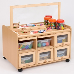 Double Sided Nursery Resource Unit + Doors, Mirror & Trays