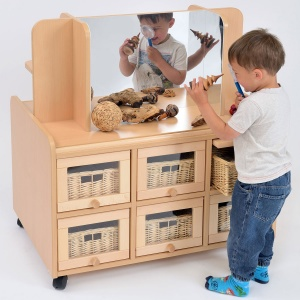 Double Sided Nursery Resource Unit + Doors, Storage/Mirror & Baskets