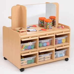 Double Sided Nursery Resource Unit + Doors, Storage/Mirror & Trays