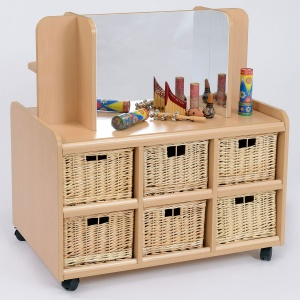 Double Sided Nursery Resource Unit + Display / Mirror & Baskets
