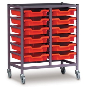 Low 2 Bay Science Storage Trolley - 12 Shallow Trays
