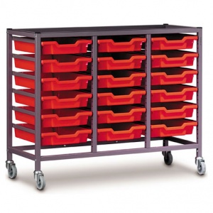Low 3 Bay Science Storage Trolley - 18 Shallow Trays
