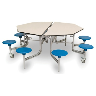 8 Seat Octagonal Mobile Folding Table - Stools