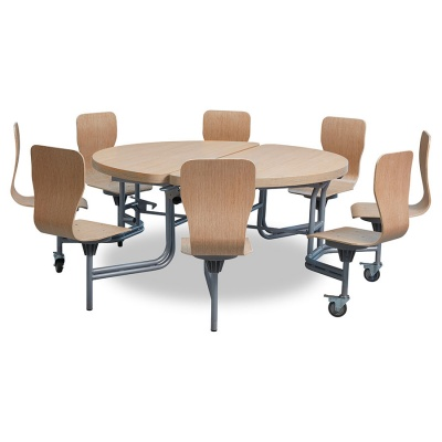8 Seat Primo Round Mobile Folding Table - Full Back Seats