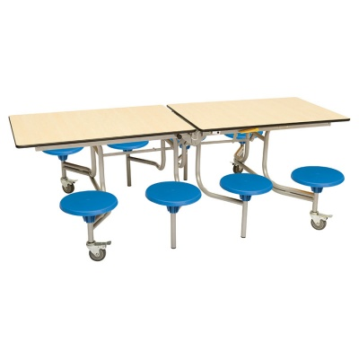 8 Seat Rectangular Mobile Folding Table - Stools