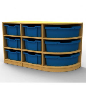 ''Curve'' Double Right-Hand Corner Storage (3 Trays High)