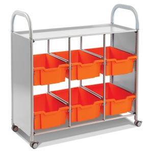 Callero Library Trolley + 6 Deep Trays