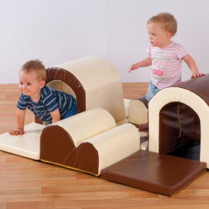 Toddler ''Tunnels & Bumps'' Brown & Cream Soft Blocks