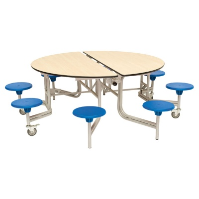 8 Seat Round Mobile Folding Table - Stools