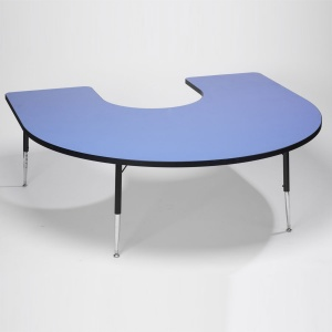 Tuf-Top™ Height Adjustable Horseshoe Table - Blue