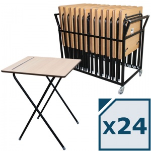 zlite® 24 Premium Safety Folding Exam Desk Plus Trolley Package
