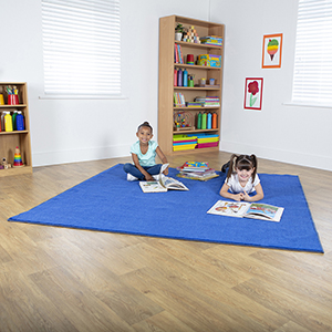 Plain Colour Square Classroom Carpet - Navy