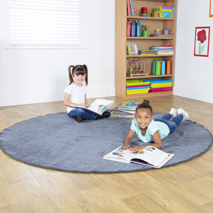 Plain Colour Round Classroom Carpet - Grey