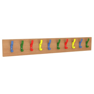 10 Hook Coat Rail - Multicoloured