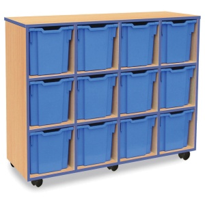12 Jumbo Blue Tray Store with Blue Edging