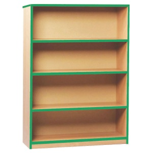 Open Bookcase with 3 Shelves & Green Edging (1250H)