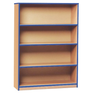 Open Bookcase with 3 Shelves & Blue Edging (1250H)