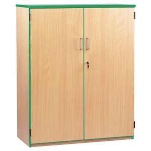 Lockable Cupboard with 3 Shelves & Green Edging (1250H)