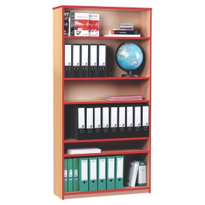 Open Bookcase with 5 Shelves & Red Edging (1800H)