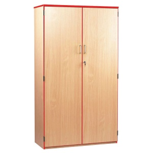 Lockable Cupboard with 5 Shelves & Red Edging (1800H)
