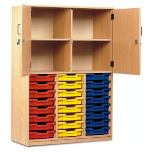 24 Shallow Tray Cupboard with Half Locking Doors