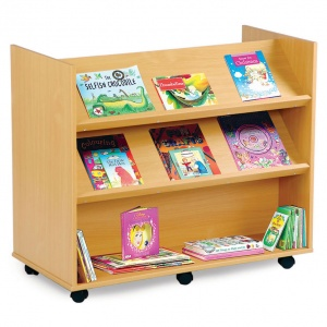 Mobile Library Unit 2 Angled & 1 Horizontal Shelf Each Side