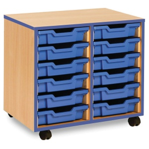 12 Shallow Blue Tray Store with Blue Edging