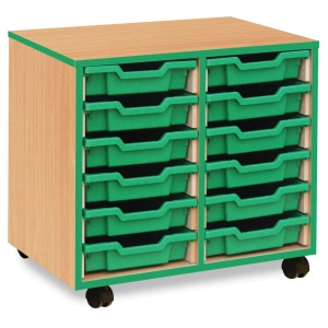 12 Shallow Green Tray Store with Green Edging