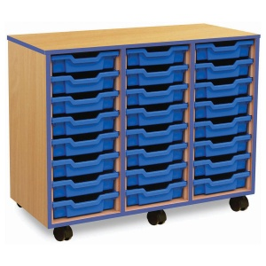 24 Shallow Blue Tray Store with Blue Edging