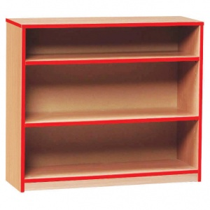 Open Bookcase with 2 Shelves & Red Edging (750H)