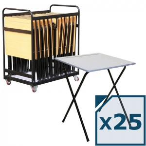 Mogo 25 Folding Exam Desks + Trolley